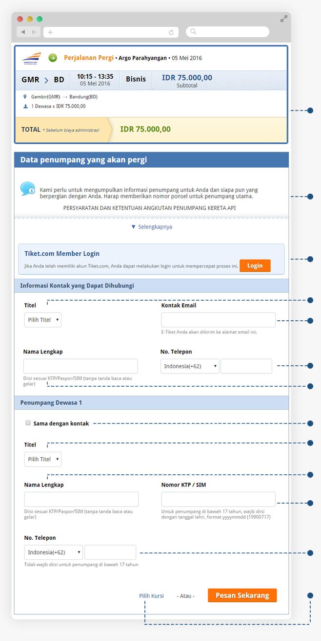 cara pesan tiket kereta api online