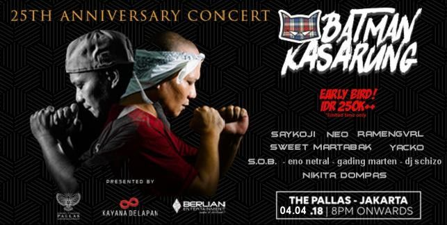 harga tiket 25th Anniversary Batman Kasarung Concert 2018