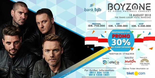 harga tiket Boyzone 25 Years Farewell Concert - Live In Bandung 2018