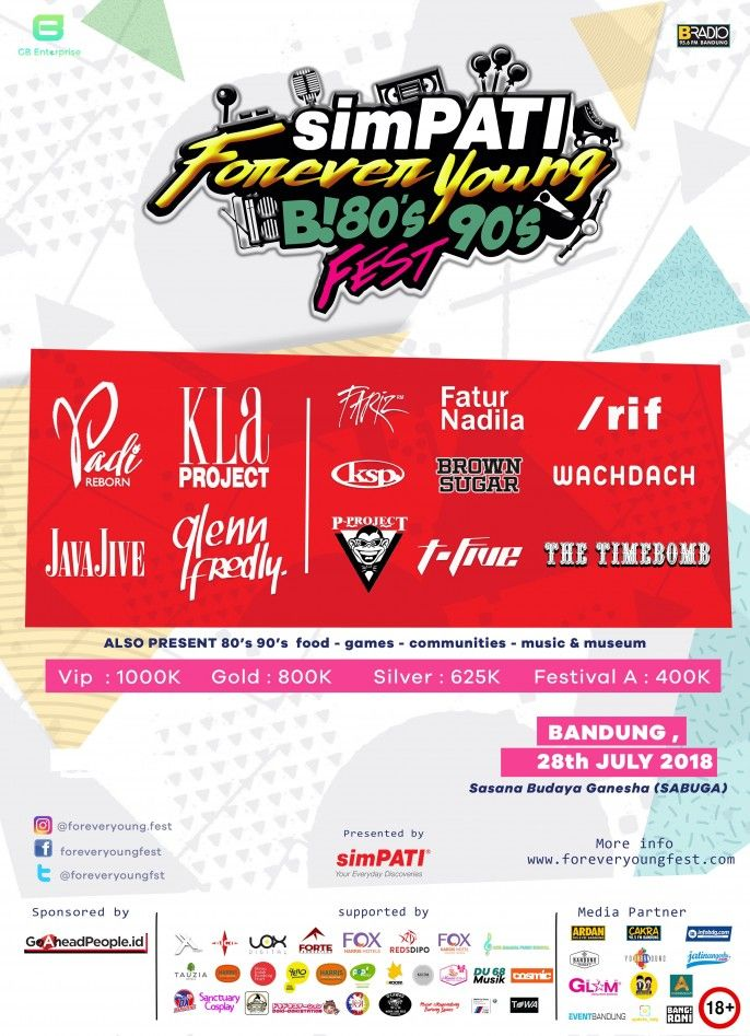 harga tiket FOREVER YOUNG B! 80s 90s FEST 2018