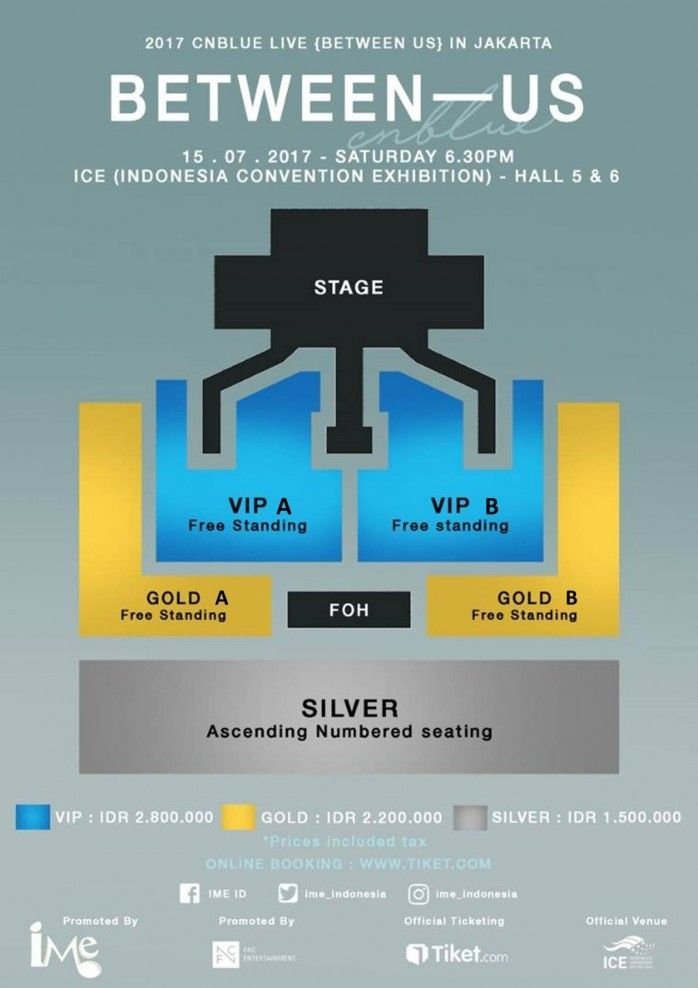 Lokasi Layout 2017 CNBLUE LIVE BETWEEN US In JAKARTA