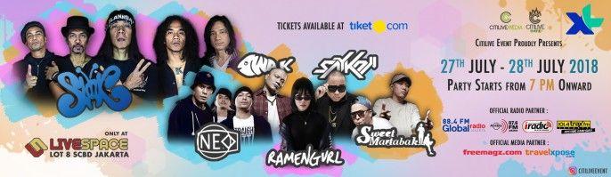 harga tiket Slank Concert - Soft Opening Livespace Lot 8 SCBD 2018
